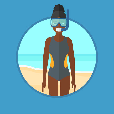 An african-american scuba diver in diving suit, flippers, mask and tube standing on the beach. Young woman enjoying snorkeling. Vector flat design illustration in the circle isolated on background. Illustration