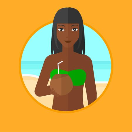 woman drinking milk: African-american woman with a coconut cocktail on the beach. Woman drinking a cocktail on the beach. Woman enjoying her vacation. Vector flat design illustration in the circle isolated on background. Illustration