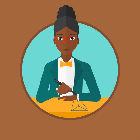 An african-american woman making a model with a 3D pen. Woman drawing geometric shape by 3d pen. Engineer working with a 3D pen. Vector flat design illustration in the circle isolated on background.