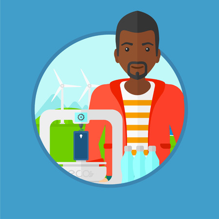 An african man standing near 3D printer making a smartphone using recycled plastic bottles on the background of wind turbines. Vector flat design illustration in the circle isolated on background.