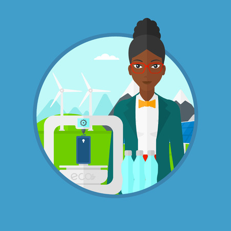 An african woman standing near 3D printer making a smartphone using recycled plastic bottles on the background of wind turbines. Vector flat design illustration in the circle isolated on background.