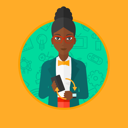 smart woman: An african woman holding a smartphone and wearing on wrist her smart watch. Synchronization between smart watch and smart phone. Vector flat design illustration in the circle isolated on background.