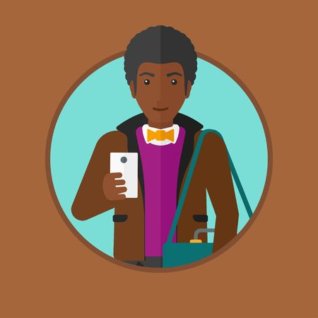 using smartphone: An african-american young man using smartphone. Businessman with suitcase working with smartphone. Man messaging on smartphone. Vector flat design illustration in the circle isolated on background.