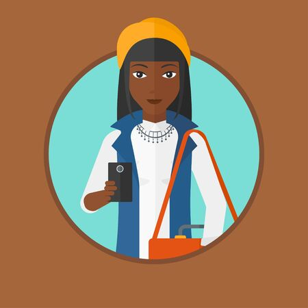 using smartphone: An african-american woman using a smartphone. Businesswoman with suitcase working with smartphone. Woman messaging on smartphone. Vector flat design illustration in the circle isolated on background. Illustration
