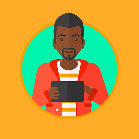 An african-american man using a tablet computer. Businessman working with a digital tablet. Businessman holding digital tablet. Vector flat design illustration in the circle isolated on background.