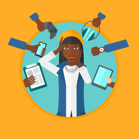 despair: An african-american young woman in despair surrounded by many hands with gadgets around him. Woman using many electronic gadgets. Vector flat design illustration in the circle isolated on background.