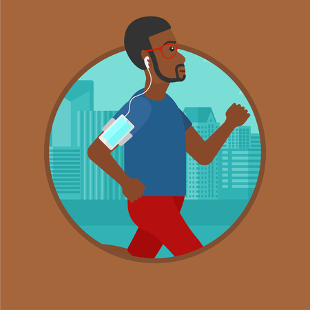 armband: An african-american man running with earphones and armband for smartphone. Man listening to music during running in the city. Vector flat design illustration in the circle isolated on background. Illustration