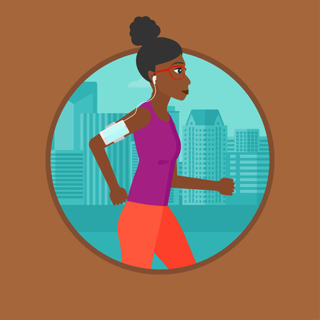armband: An african-american woman running with earphones and armband for smartphone. Woman listening to music during running in the city. Vector flat design illustration in the circle isolated on background.