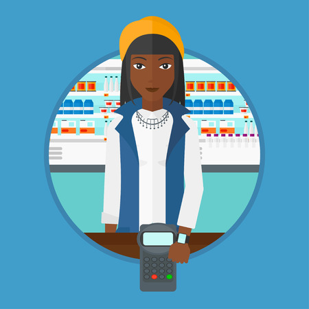 smart woman: An african woman paying wireless with her smart watch at the supermarket. Customer making payment for purchase with smart watch. Vector flat design illustration in the circle isolated on background.