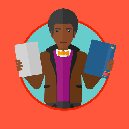 choosing: An african confused man choosing between a tablet computer and a paper book. Man holding book in one hand and tablet in the other. Vector flat design illustration in the circle isolated on background.