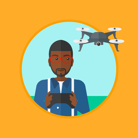 controling: An african-american young man flying drone with remote control. Man operating a drone with remote control. Man controling a drone. Vector flat design illustration in the circle isolated on background.