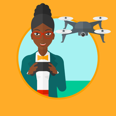 vector control illustration: An african-american woman flying drone with remote control. Woman operating a drone with remote control. Woman controling a drone. Vector flat design illustration in the circle isolated on background. Illustration