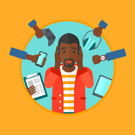 An african-american young man in despair surrounded by many hands with gadgets around him. Man using many electronic gadgets. Vector flat design illustration in the circle isolated on background.