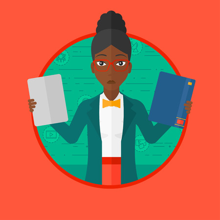 African-american confused woman choosing between tablet computer and paper book. Woman holding book and tablet computer in hands. Vector flat design illustration in the circle isolated on background. Illustration