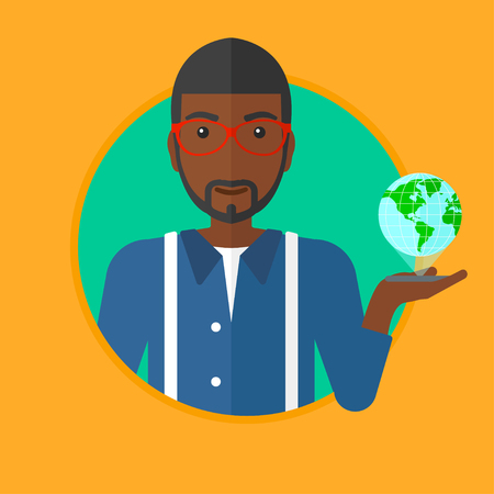 An african man holding a smartphone with a model of planet earth above the device. International technology communication concept. Vector flat design illustration in the circle isolated on background. Illustration
