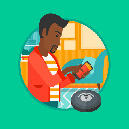 controlling: An african-american man controlling robot vacuum cleaner with his smartphone. Man holding remote control of robotic vacuum cleaner. Vector flat design illustration in the circle isolated on background