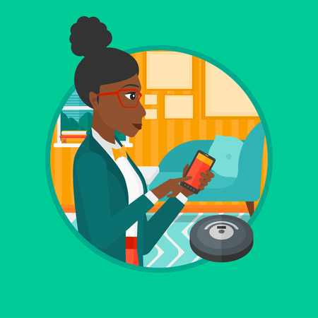 controlling: African-american woman controlling robot vacuum cleaner with smartphone. Woman holding remote control of robotic vacuum cleaner. Vector flat design illustration in the circle isolated on background.