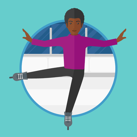 An african-american professional male figure skater performing on ice skating rink. Young ice skater dancing. Man on skates indoor. Vector flat design illustration in the circle isolated on background Illustration