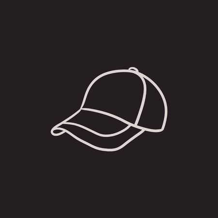 peak hat: Baseball hat sketch icon for web, mobile and infographics. Hand drawn baseball hat icon. Baseball hat vector icon. Baseball hat icon isolated on white background.
