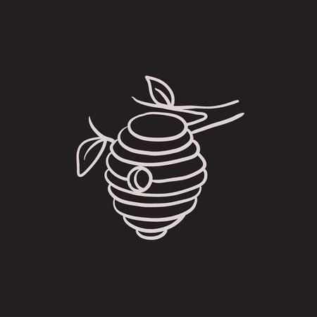ミツバチの巣箱は、web、モバイルのアイコンとインフォ グラフィックをスケッチします。手には、蜂ハイブ アイコンが描画されます。ミツバチのハ  イラスト・ベクター素材