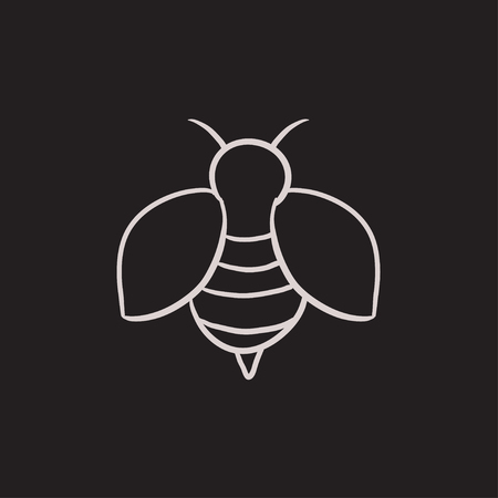 Bee sketch icon for web, mobile and infographics. Hand drawn bee icon. Bee vector icon. Bee icon isolated on white background. Ilustração