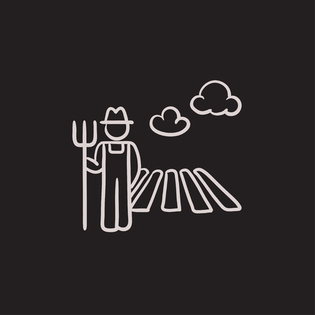 villager: Farmer with pitchfork at field sketch icon for web, mobile and infographics. Hand drawn farmer icon. Farmer vector icon. Farmer icon isolated on white background.
