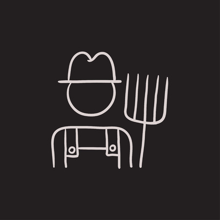 Farmer with pitchfork vector sketch icon isolated on background. Hand drawn Farmer with pitchfork icon. Farmer with pitchfork sketch icon for infographic, website or app. Illustration