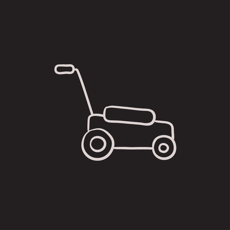 Lawnmover vector sketch icon isolated on background. Hand drawn Lawnmover icon. Lawnmover sketch icon for infographic, website or app.