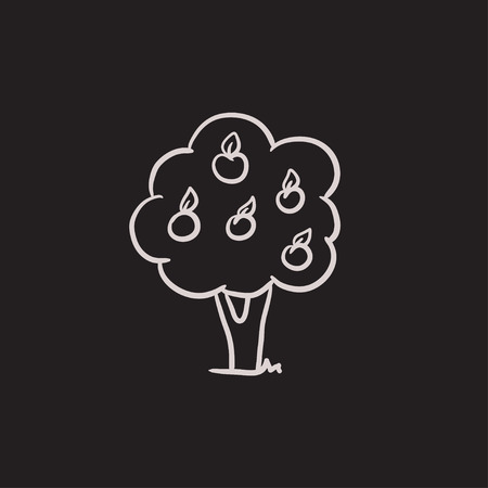 Fruit tree vector sketch icon isolated on background. Hand drawn Fruit tree icon. Fruit tree sketch icon for infographic, website or app. Illustration