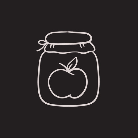 hand jam: Apple jam jar vector sketch icon isolated on background. Hand drawn Apple jam jar icon. Apple jam jar sketch icon for infographic, website or app.
