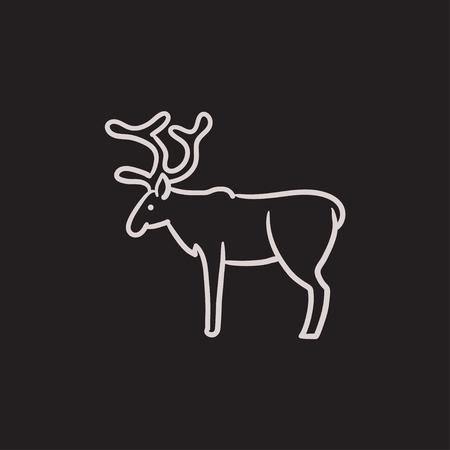 사슴 벡터 스케치 아이콘 배경에 고립. 손으로 그린 사슴 아이콘입니다. infographic, 웹 사이트 또는 응용 프로그램에 대 한 사슴 스케치 아이콘.