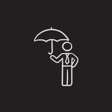 sheltering: Businessman with umbrella vector sketch icon isolated on background. Hand drawn Businessman with umbrella icon. Businessman with umbrella sketch icon for infographic, website or app. Illustration