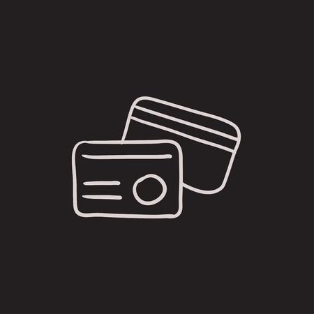 Icône de croquis de carte d'identité de vecteur isolé sur fond. Icône de carte d'identité dessinés à la main. Icône de croquis de carte d'identité pour infographie, site Web ou application.