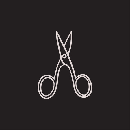 scissors icon: Nail scissors vector sketch icon isolated on background. Hand drawn Nail scissors icon. Nail scissors sketch icon for infographic, website or app.