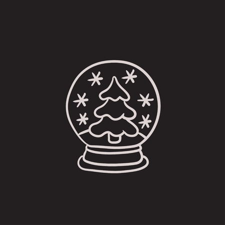 Snow globe with christmas tree vector sketch icon isolated on background. Hand drawn Snow globe with christmas tree icon. Snow globe with christmas tree sketch icon for infographic, website or app. 向量圖像