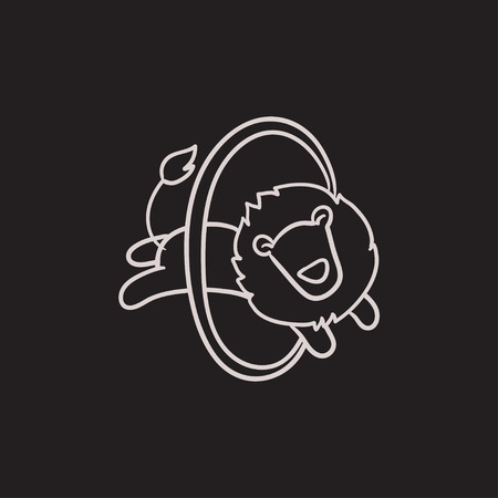 spectacle frame: Lion jumping through ring vector sketch icon isolated on background. Hand drawn Lion jumping through ring icon. Lion jumping through ring sketch icon for infographic, website or app.