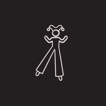 stilts: Clown on stilts vector sketch icon isolated on background. Hand drawn Clown on stilts icon. Clown on stilts sketch icon for infographic, website or app.