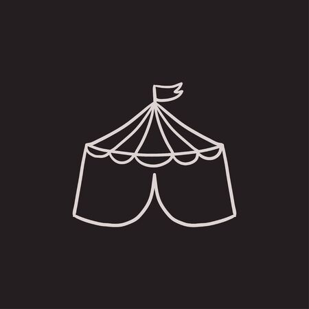 cupola: Circus tent vector sketch icon isolated on background. Hand drawn Circus tent icon. Circus tent sketch icon for infographic, website or app.