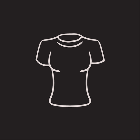 tight body: Female t-shirt vector sketch icon isolated on background. Hand drawn Female t-shirt icon. Female t-shirt sketch icon for infographic, website or app.