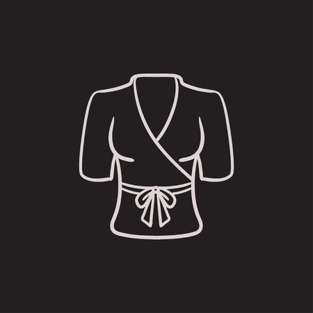 housecoat: Short female bathrobe vector sketch icon isolated on background. Hand drawn Short female bathrobe icon. Short female bathrobe sketch icon for infographic, website or app. Illustration