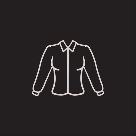Female blouse vector sketch icon isolated on background. Hand drawn Female blouse icon. Female blouse sketch icon for infographic, website or app. Illustration