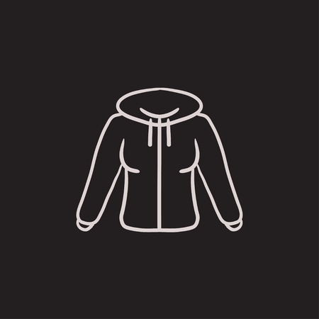 zipper hoodie: Hoodie vector sketch icon isolated on background. Hand drawn Hoodie icon. Hoodie sketch icon for infographic, website or app.