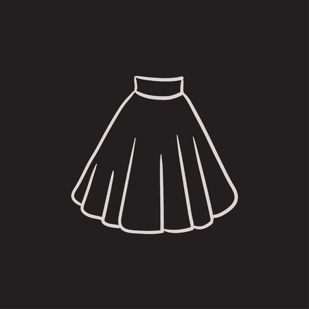 Skirt vector sketch icon isolated on background. Hand drawn Skirt icon. Skirt sketch icon for infographic, website or app. Illustration