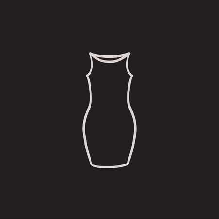 skintight: Dress vector sketch icon isolated on background. Hand drawn Dress icon. Dress sketch icon for infographic, website or app.