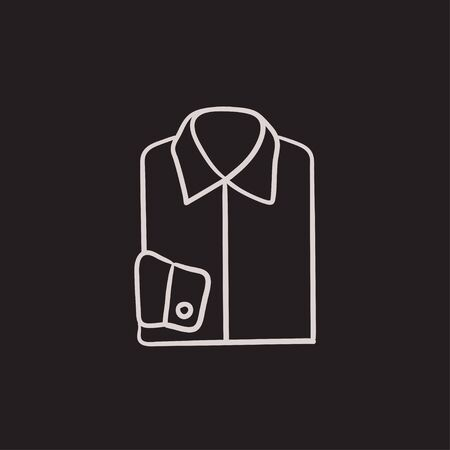 folded hand: Folded male shirt vector sketch icon isolated on background. Hand drawn Folded male shirt icon. Folded male shirt sketch icon for infographic, website or app. Illustration