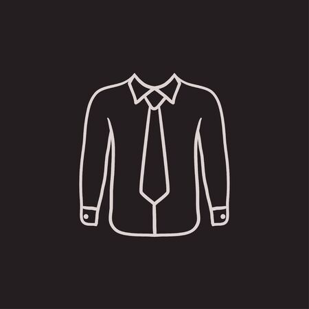 Shirt with tie vector sketch icon isolated on background. Hand drawn Shirt with tie icon. Shirt with tie sketch icon for infographic, website or app. 矢量图像