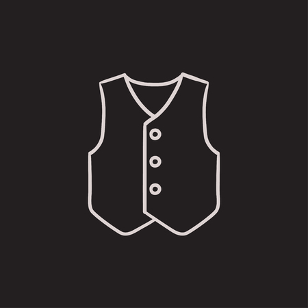 waistcoat: Waistcoat vector sketch icon isolated on background. Hand drawn Waistcoat icon. Waistcoat sketch icon for infographic, website or app. Illustration