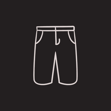 elastic garments: Male shorts vector sketch icon isolated on background. Hand drawn Male shorts icon. Male shorts sketch icon for infographic, website or app. Illustration
