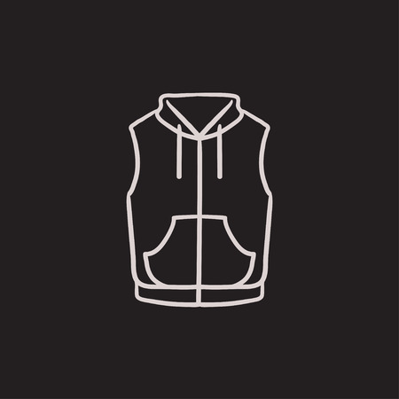 vest in isolated: Vest down jacket vector sketch icon isolated on background. Hand drawn Vest down jacket icon. Vest down jacket sketch icon for infographic, website or app. Illustration