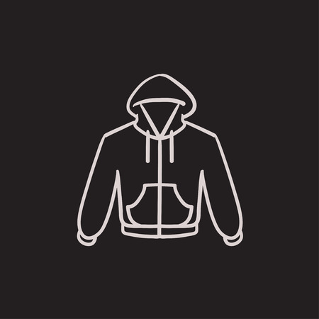 hooded: Hoodie vector sketch icon isolated on background. Hand drawn Hoodie icon. Hoodie sketch icon for infographic, website or app.